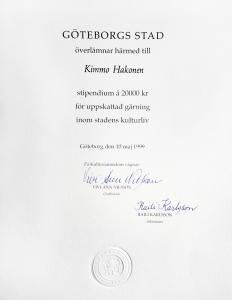Kultur stipendium Göteborgs Stad